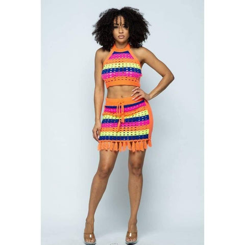 Neon Orange Striped Multi Color Cropped Halter Top & Short Skirt 2 Piece Set - Skirt