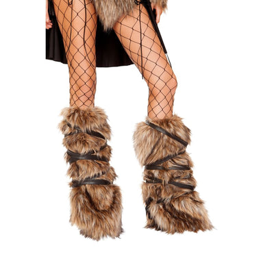Pair of Faux Fur Leg Warmers with Strap Detail - One Size / Brown - Costume