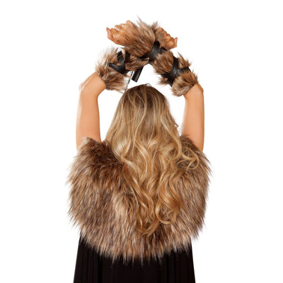 Pair of Faux Fur Viking Arm Cuffs with Strap Detail - One Size / Brown - Costume
