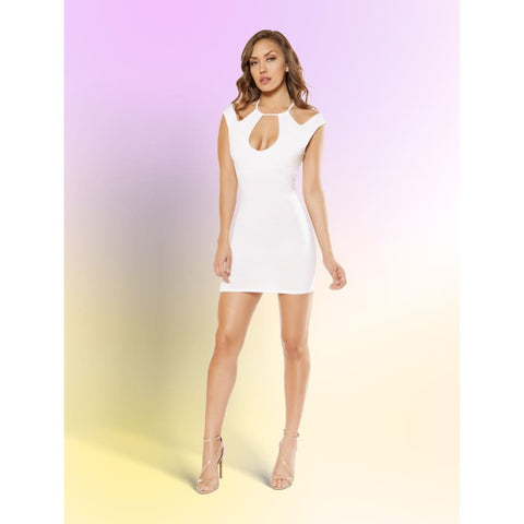 Partially Lined Dress with Cutout Panels - Small / White - Dress