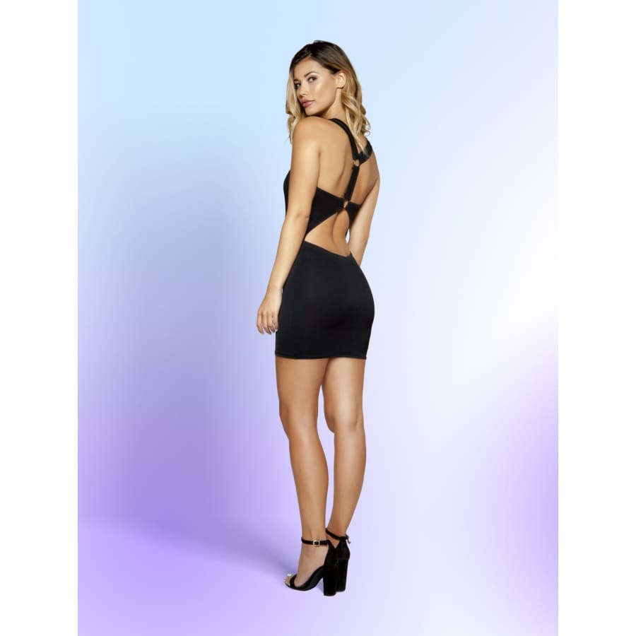 3346 - Partially Lined Mini Dress with Circular Cutout Detail - Medium / Black - Mini Dresses
