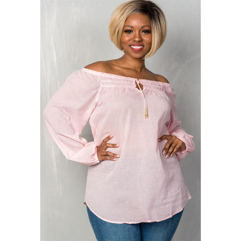 Pink Boho Contemporary Elastic Off The Shoulder Top (Curvy Sizes Only) - 1XL - Top