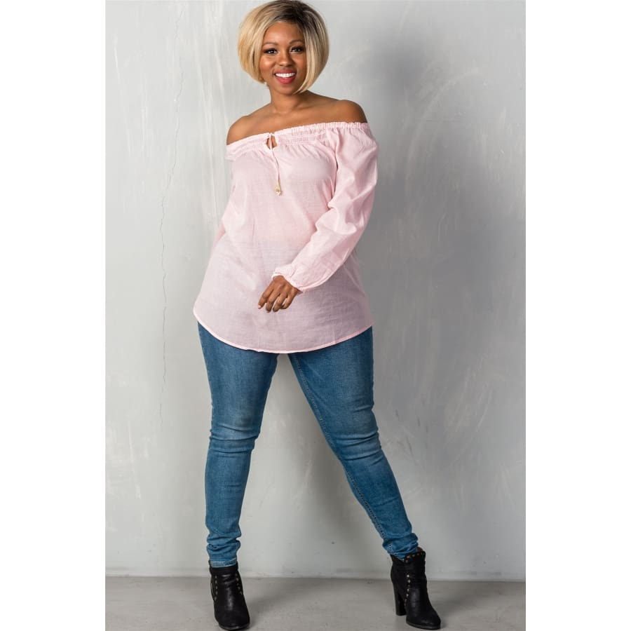 Pink Boho Contemporary Elastic Off The Shoulder Top (Curvy Sizes Only) - Top