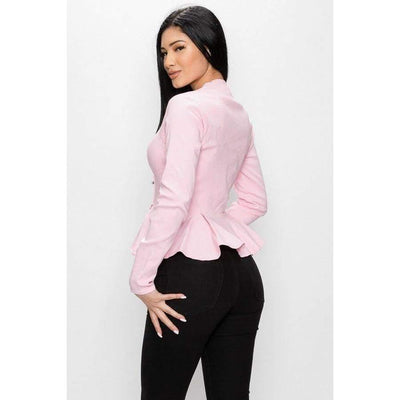 Pink Long Sleeve Ruffle Zip Up Jacket - Jacket