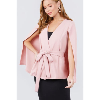 Pink Open Peaked Front w/Belt Detail Cape Jacket - S - Jacket