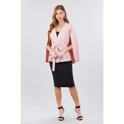 Pink Open Peaked Front w/Belt Detail Cape Jacket - Jacket