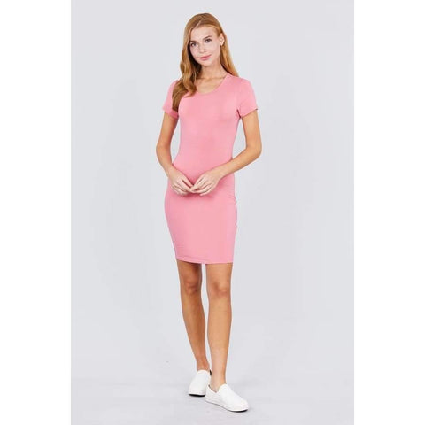 Pink Short Sleeve Round Neck Knit Mini Dress - Dress