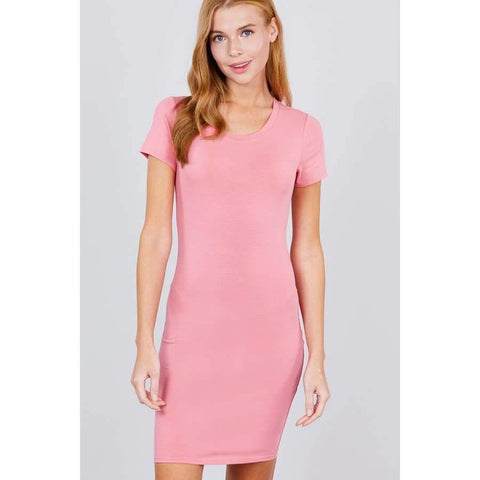Pink Short Sleeve Round Neck Knit Mini Dress - S - Dress
