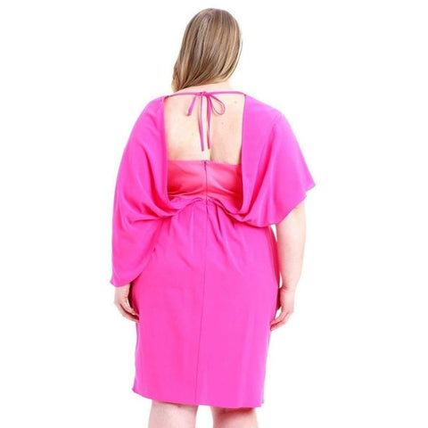 Pink Woven Fabric Stretch Dress (Curvy Sizes Only) - Dress