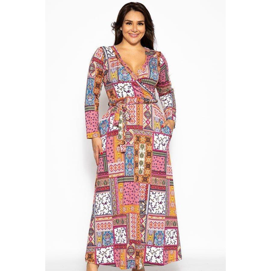 Pink/Orange Patchwork Breathable Autumn Maxi Dress (Curvy Sizes Only) - 1XL - Dress