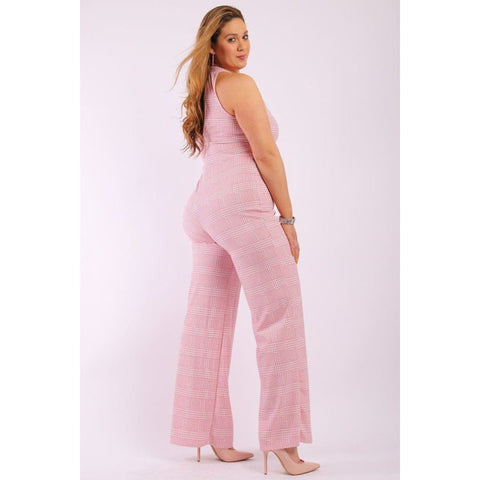 Plaid Pink Sleeveless Jumpsuit w/Front And Back Keyhole (Curvy Sizes Only) - Jumpsuit