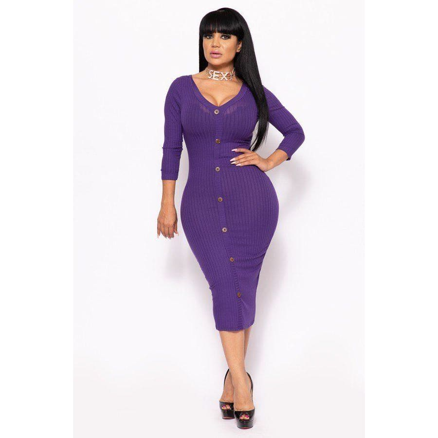 Purple Ribbed Long Sleeve Solid Midi Dress (Curvy Sizes Only) - XL - Dress