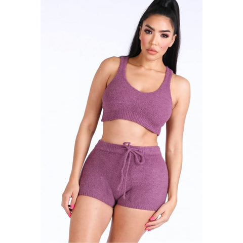 Purple Textured Knitted Tank Top Short Set - S - Shorts