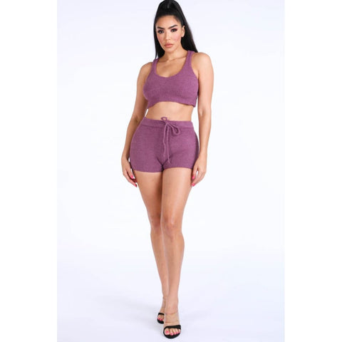 Purple Textured Knitted Tank Top Short Set - Shorts