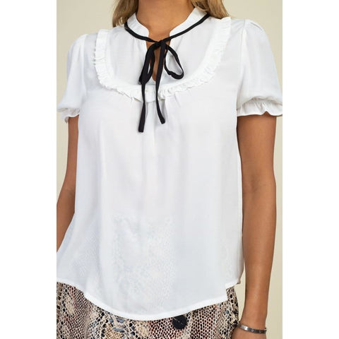 Pussycat Off White Bow Ruffle Trim Top - Top