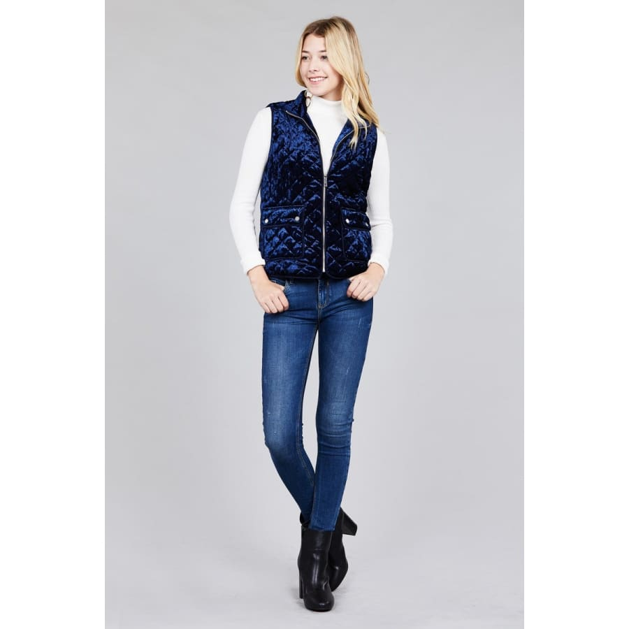 Quilted Navy Padding w/Suede Piping Detail Velvet Vest (Curvy Sizes Only) - Jacket