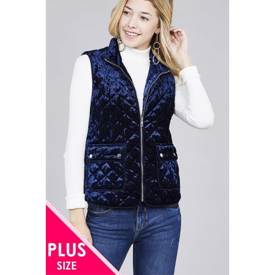 Quilted Navy Padding w/Suede Piping Detail Velvet Vest (Curvy Sizes Only) - 1XL - Jacket