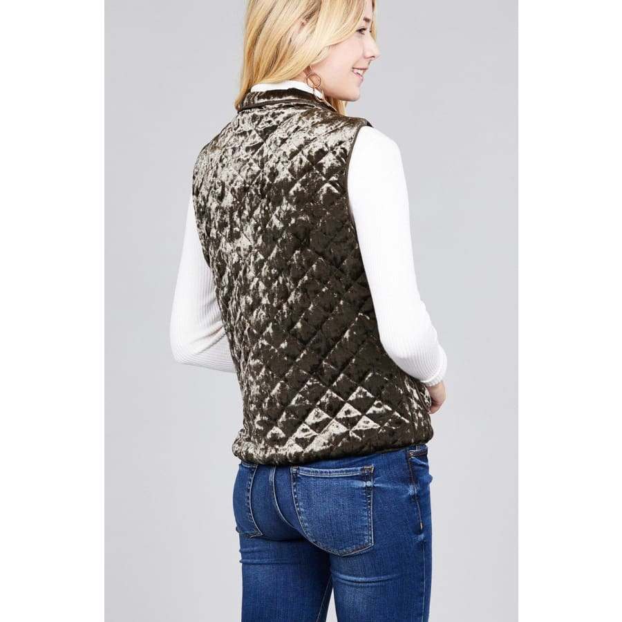 Quilted Olive Padding w/Suede Piping Detail Velvet Vest (Curvy Sizes Only) - Jacket