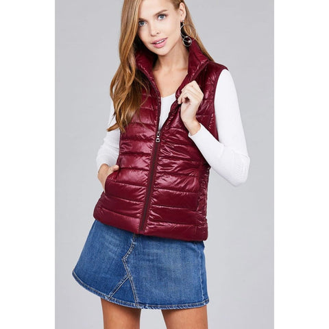 Quilted Padding Vest - Burgundy / M - Jacket