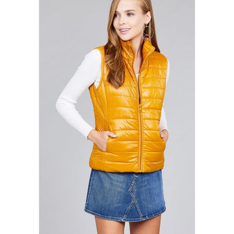 Quilted Padding Vest - Mustard / S - Jacket