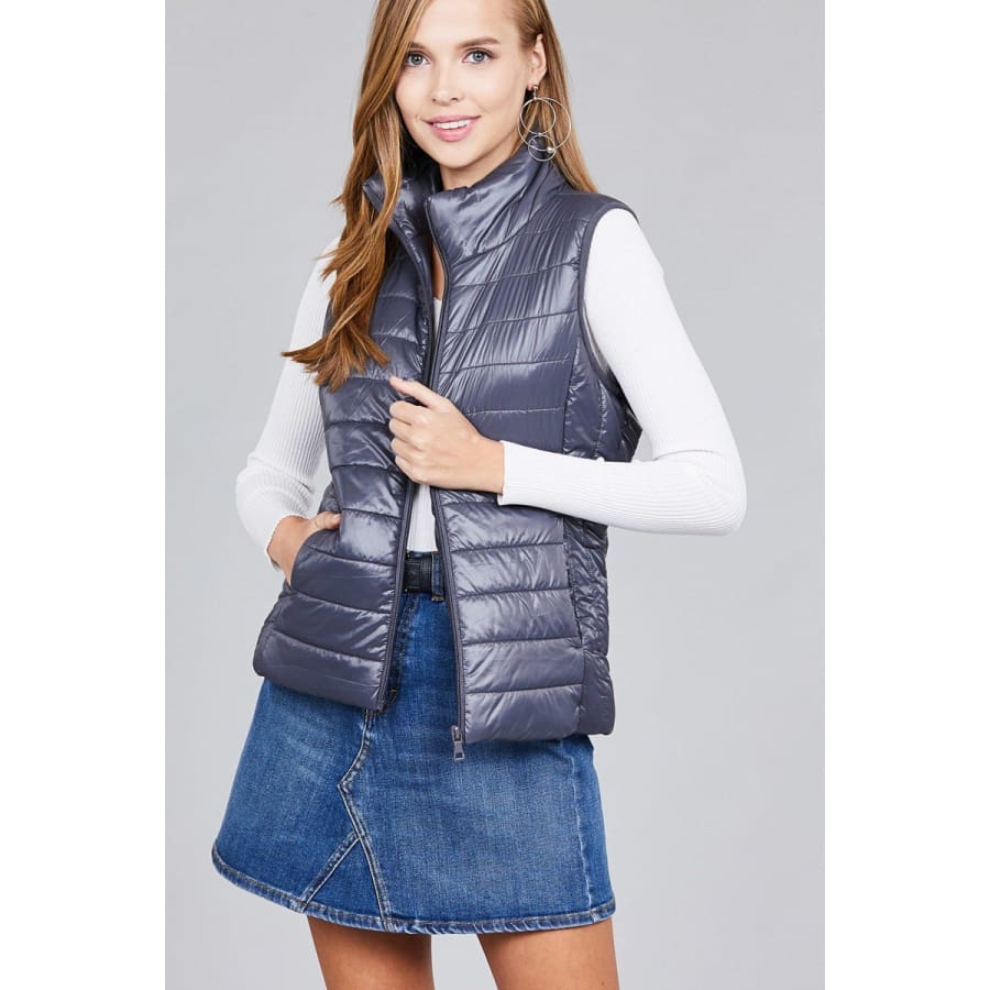 Quilted Padding Vest - Mauve / S - Jacket
