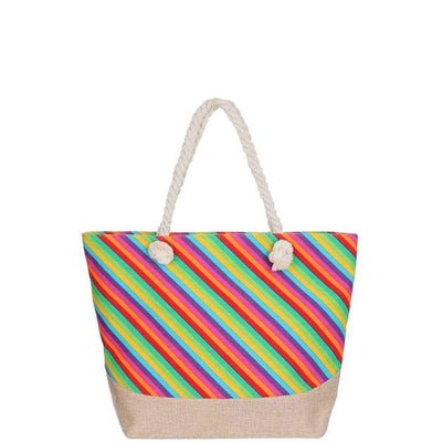 Rainbow Natural Shopper Bag - Rainbow - Accessory