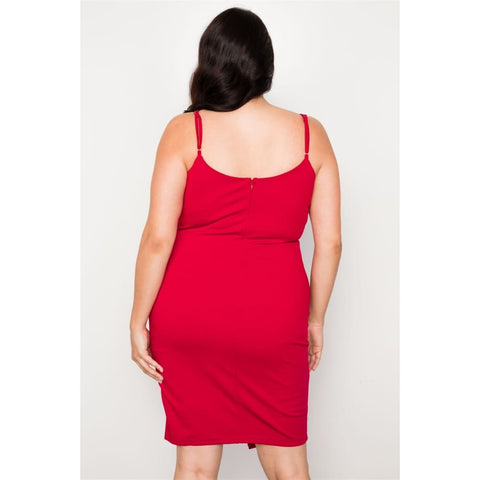 Red Bodycon Cami Mini Dress (Curvy Sizes Only) - Dress