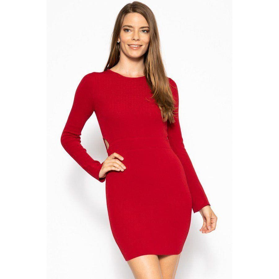 Red Bodycon Knit Sweater Dress - S - Dress