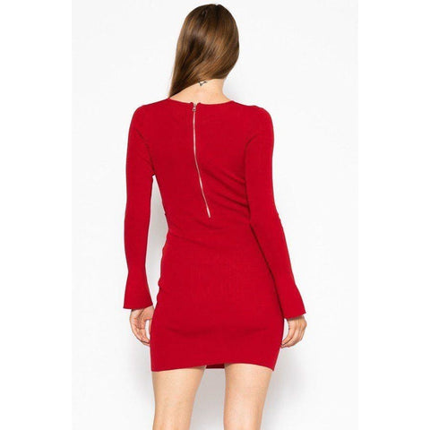 Red Bodycon Knit Sweater Dress - Dress