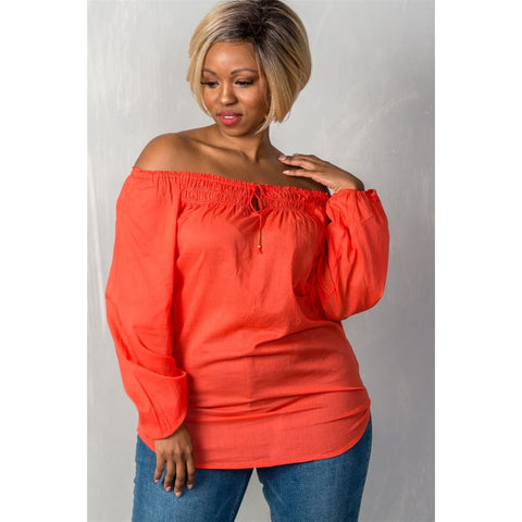 Red Boho Contemporary Elastic Off The Shoulder Top (Curvy Sizes Only) - 1XL - Top