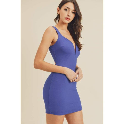 Royal Open Back Plunging V-Neck Bodycon Dress - Dress