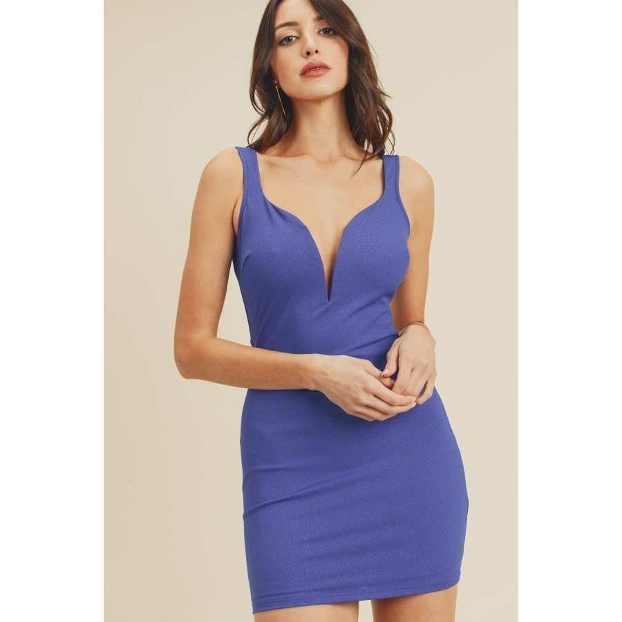 Royal Open Back Plunging V-Neck Bodycon Dress - S - Dress