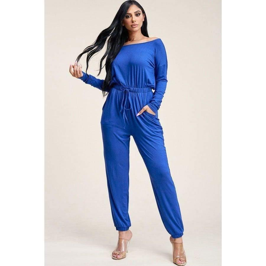Royal Solid Slouchy Jumpsuit - Distinctive Woman