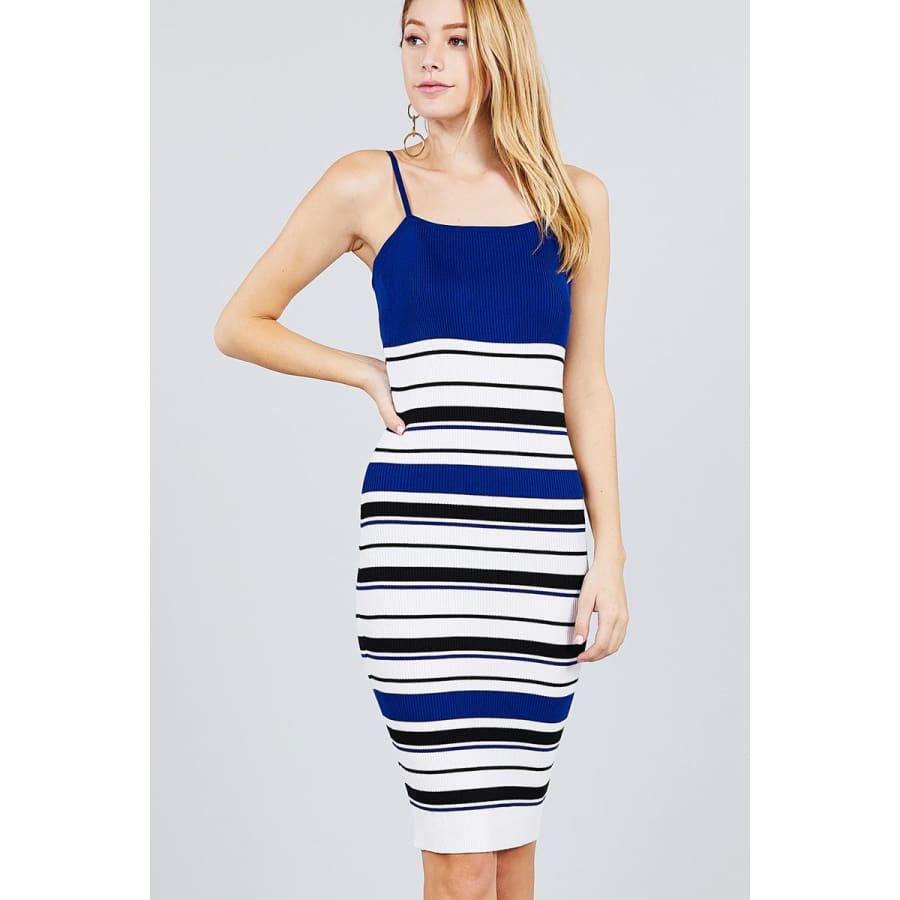 Royal Straight Neck Multi Stripe Cami Mini Sweater Dress - S - Dress