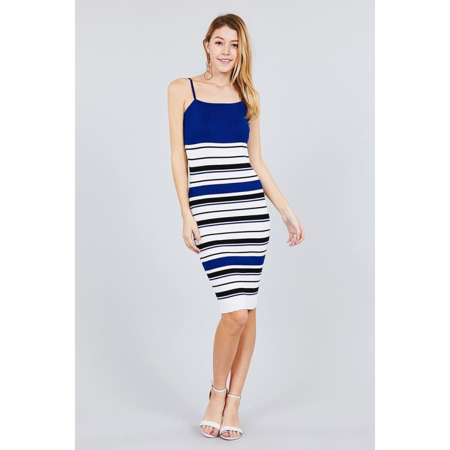 Royal Straight Neck Multi Stripe Cami Mini Sweater Dress - Dress