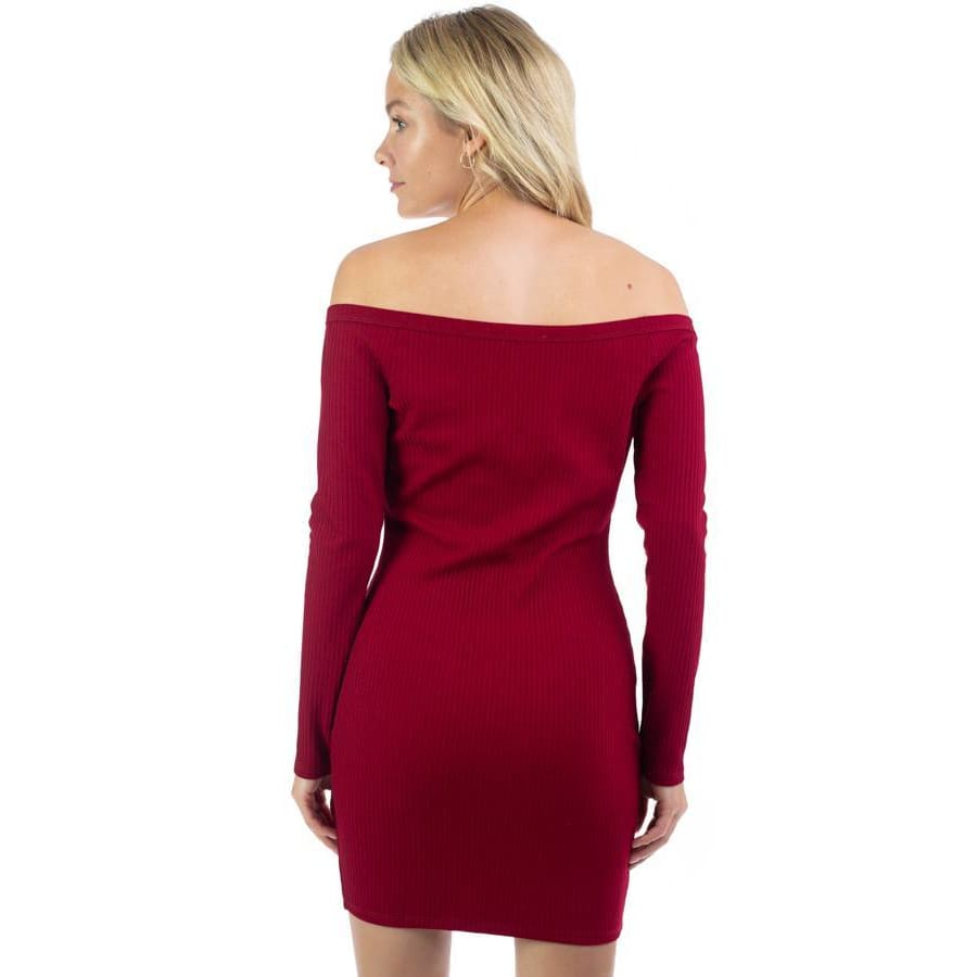 Ruby Off Shoulder Ribbed Dress - Dress