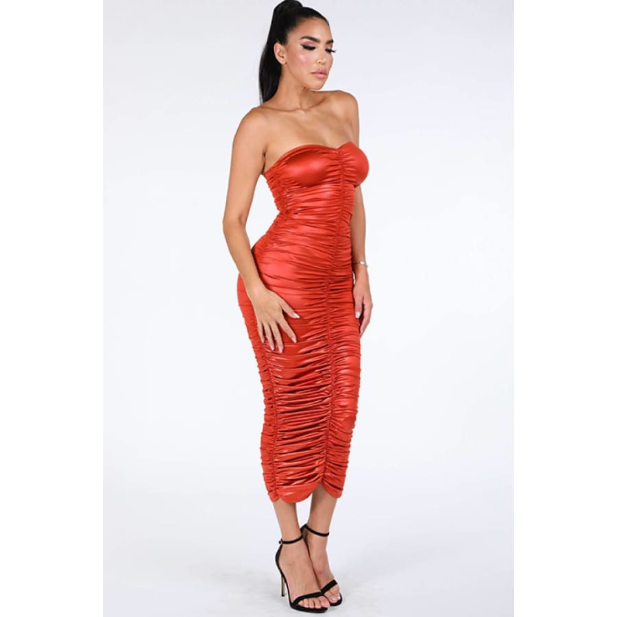 Ruched Tube Rust Midi Dress - Dress