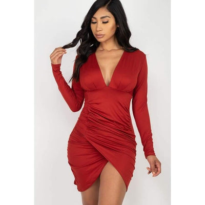 Ruched Wrap Bodycon Dress