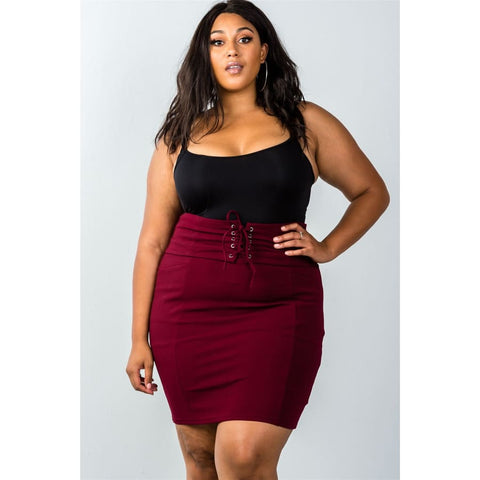 Self Tie Lace Up Burgundy Pencil Mini Skirt (Curvy Sizes Only) - Skirt