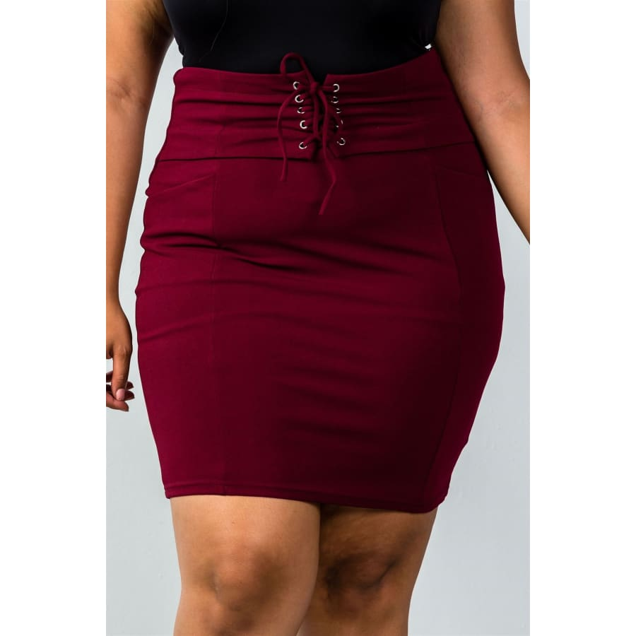 Self Tie Lace Up Burgundy Pencil Mini Skirt (Curvy Sizes Only) - 1XL - Skirt