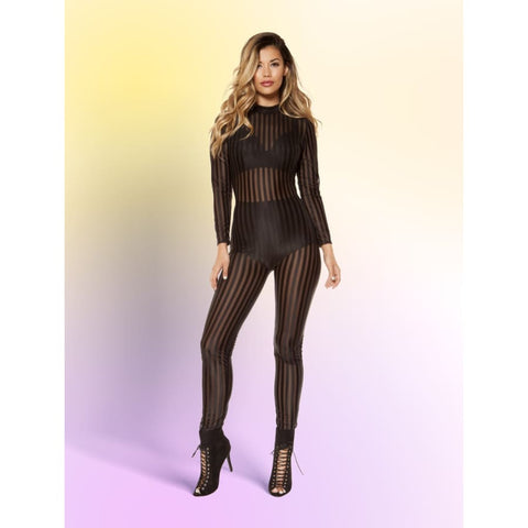 Semi Sheer Striped Mesh Jumpsuit - Small / Black - Rompers