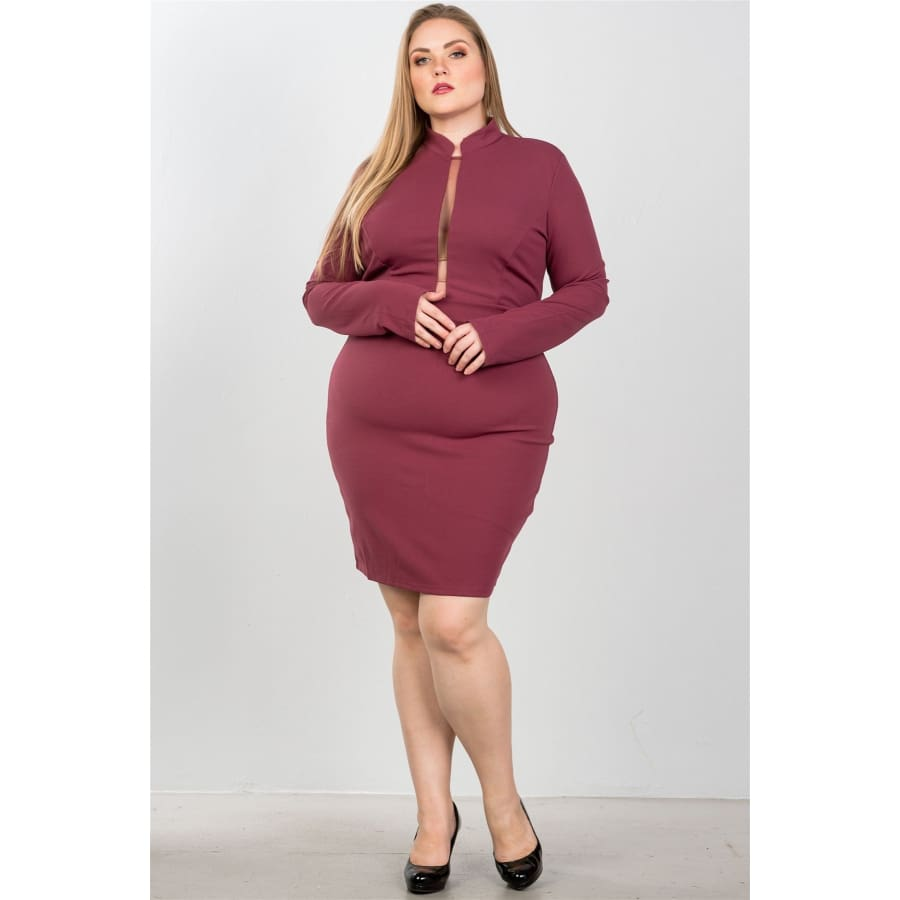 Sexy High Neck Mesh Insert Mauve Bodycon Midi Dress (Curvy Sizes Only) - Dress
