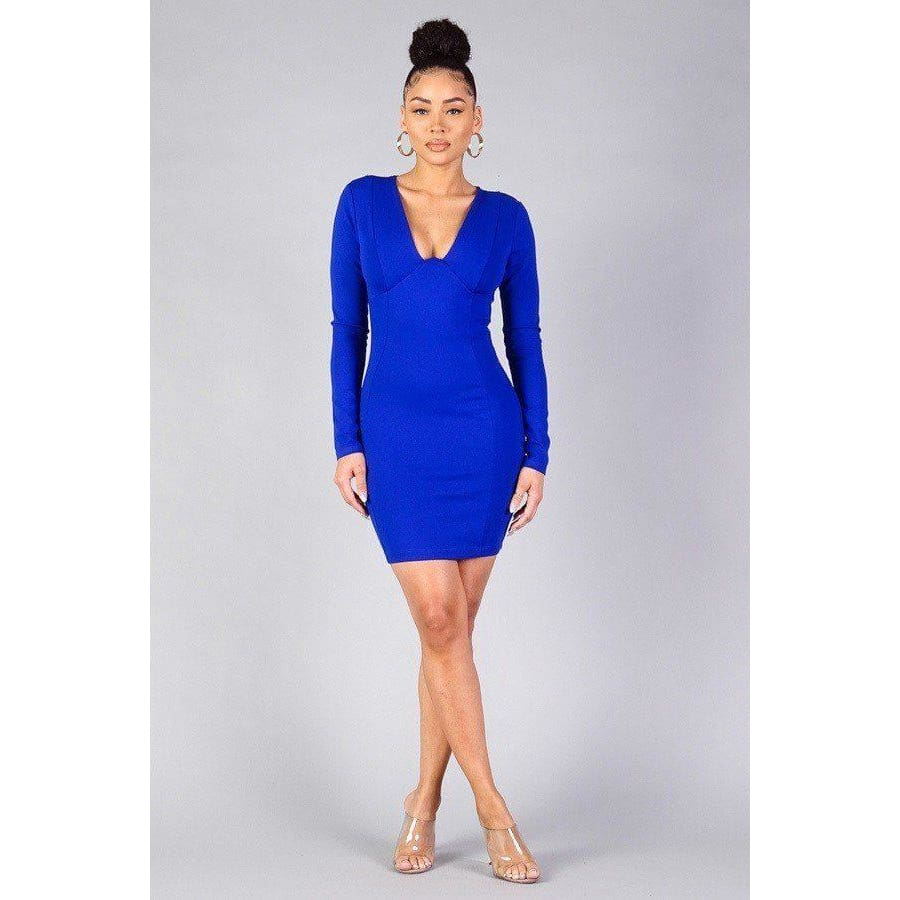 Sexy Royal Blue Long Sleeve Bodycon Mini Dress - S - Dress