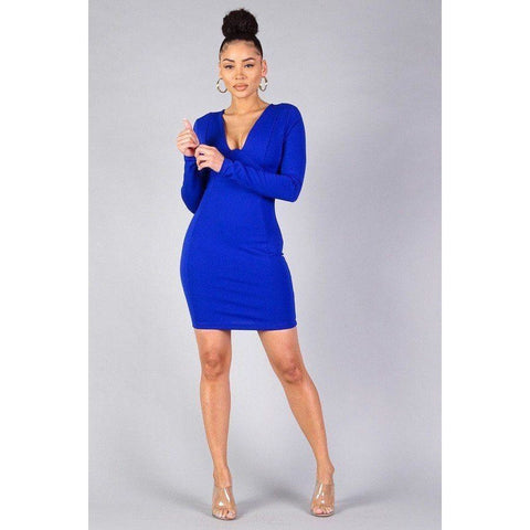 Sexy Royal Blue Long Sleeve Bodycon Mini Dress - Dress