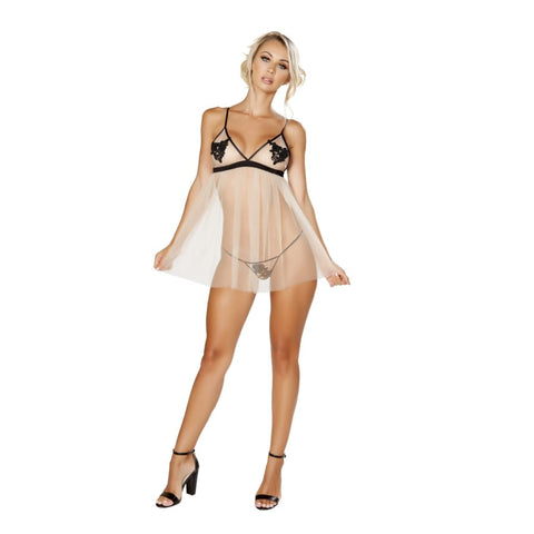 Sheer Baby Doll (Curvy Sizes Available) - S/M / Nude/Black - lingerie