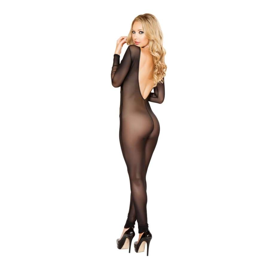 Sheer Catsuit with Detailed Patches - Lingerie Blowout sale