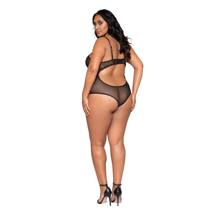 Sheer Lace & Mesh Bodysuit with Lace-Up Detail & Snap Bottom (Curvy Sizes Available) - lingerie