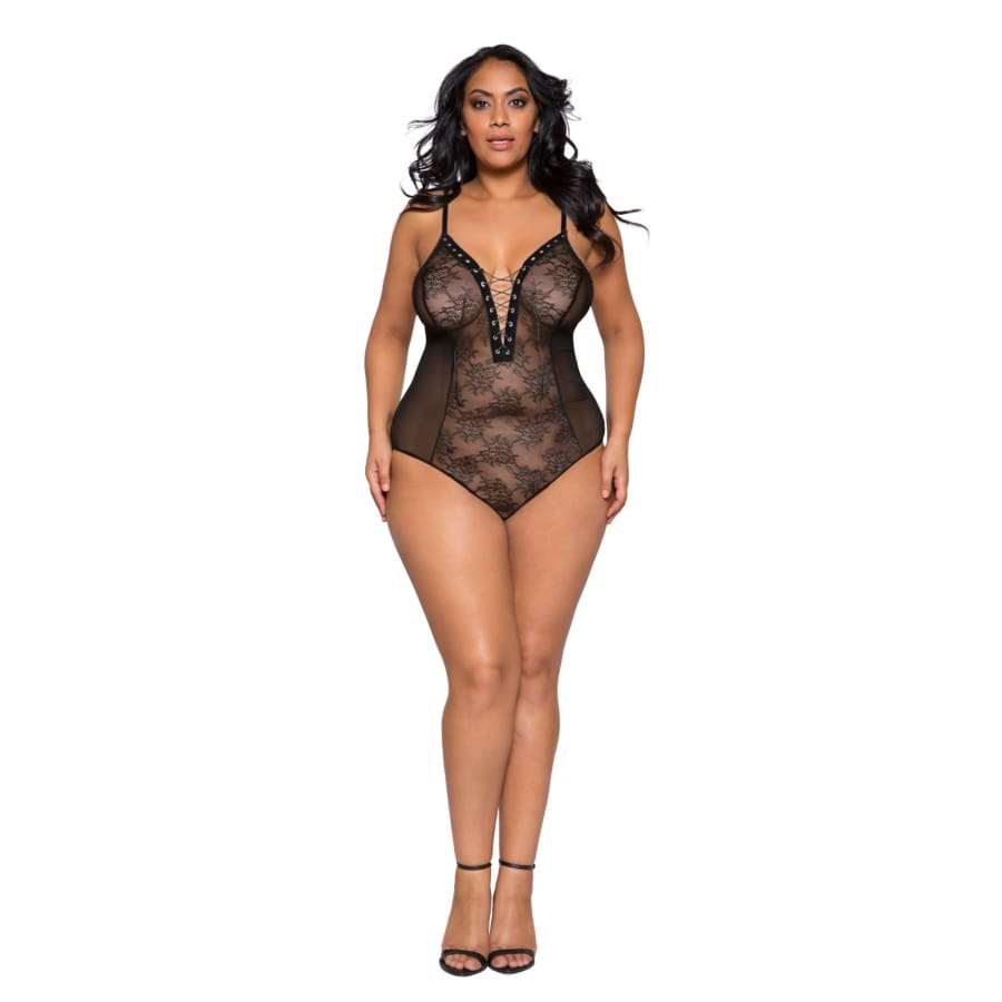 Sheer Lace & Mesh Bodysuit with Lace-Up Detail & Snap Bottom (Curvy Sizes Available) - XL/XXL / Black - lingerie