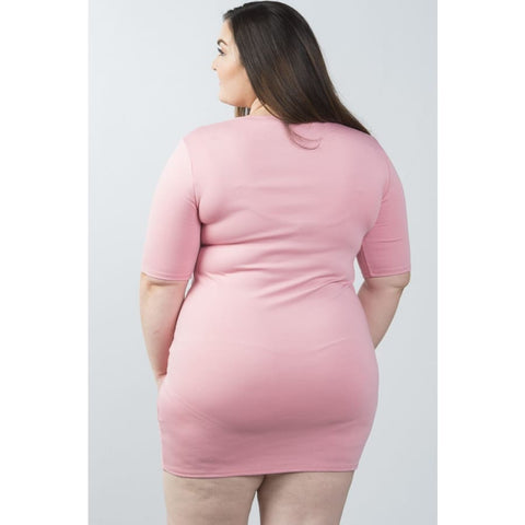 Short Sleeve Cutout Chest Blush Mini Bodycon Dress (Curvy Sizes Only) - Dress