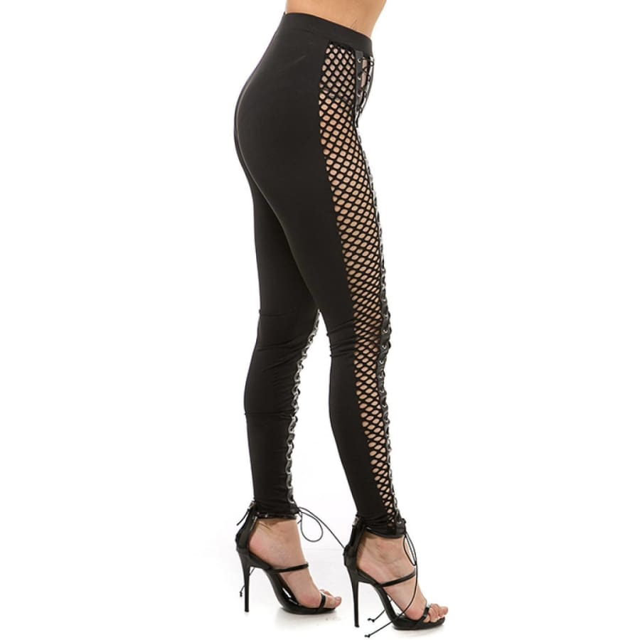 Side Fishnet Contrast Lace Up Pants